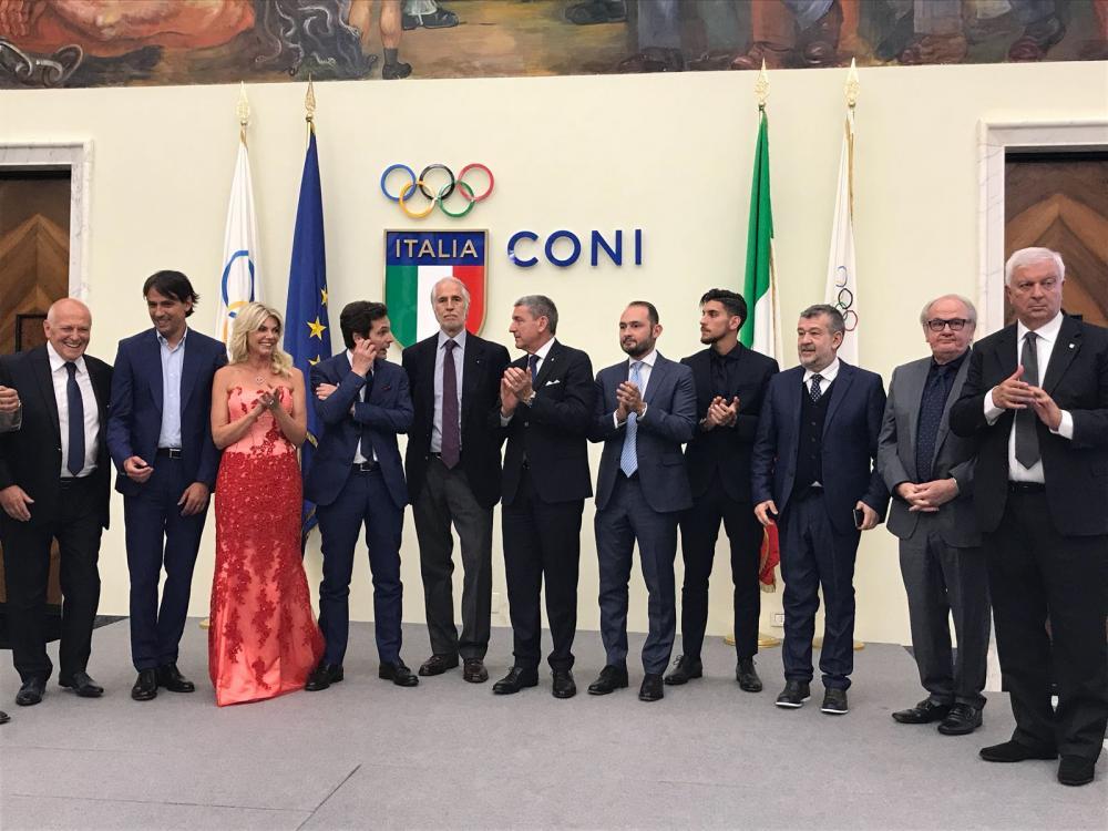 Pellegrini all'evento per la consegna del premio Beppe Viola